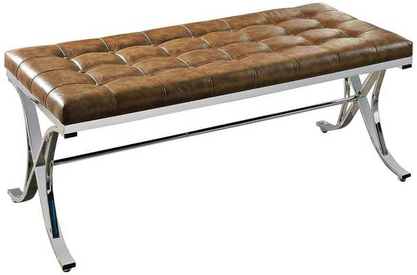 Royce Brown Faux Leather Tufted Bench - Lamps Plus