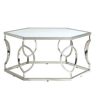 INSPIRE Q Davlin Hexagonal Metal Frosted-glass Cocktail Table - Overstock