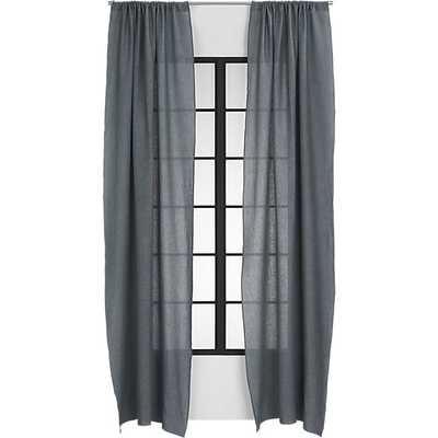 "Graphite linen curtain panel - 48""x120"" - CB2"