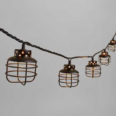 Black Metal Cage 10 Bulb String Lights - World Market/Cost Plus