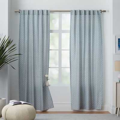 Cotton Canvas Bracket Geo Curtain - Moonstone - West Elm