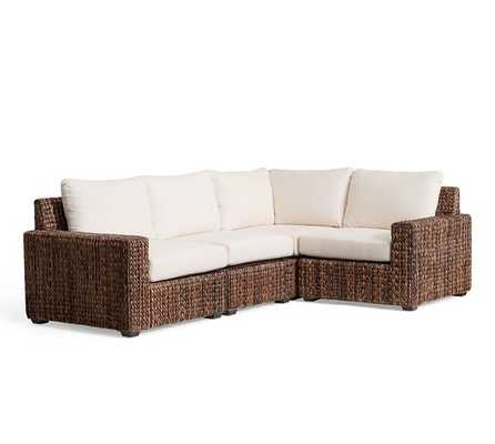 Seagrass Square Arm 4-Piece Sectional - Pottery Barn