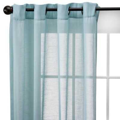 """Thresholdâ""""¢ Linen Grommet Sheer Curtain Panel-Blue-95"""" - Target"""