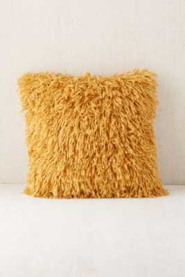 """Assembly Home Shaggy Sweater Pillow - Mustard, 16""""sq., Insert - Urban Outfitters"""