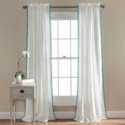 Lush Decor Pom Pom 84-inch Curtain Panel - Aqua - Overstock