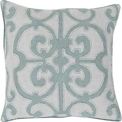 "Estelle Linen Pewter 18"" Square Pillow- Polyester/Polyfill insert - Birch Lane"
