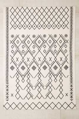Magical Thinking Printed Boucherouite Rug - 5' x 7' - Black/White - Urban Outfitters