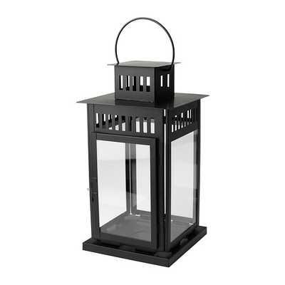 BORRBY Lantern for block candle, black indoor/outdoor black - Ikea