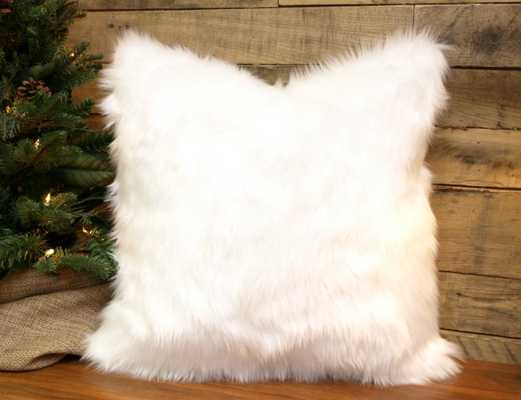 Faux Fur Pillow Cover Winter White Throw Pillow, Chenille Accent Pillow - Etsy