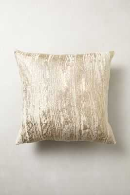 """Plaited Metallics 20"""" Sq. Gold Pillow - Poly fill - Anthropologie"""