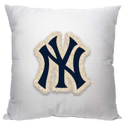 """MLB Team 142 Letterman Pillow, Yankees -18''x 18""""-Polyester insert - Target"""