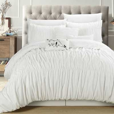 Chic Home Frances White Pleated and Ruffled 7-piece Comforter Set - Queen - Overstock