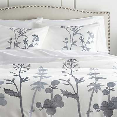 Woodland Blue Duvet Cover - King - Crate and Barrel
