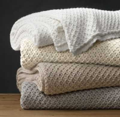 TEXTURAL KNIT OVERSIZED BED THROW - RH