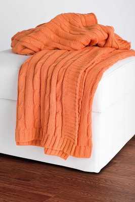 Cable Knit Decorative Throw-Orange - Home Decorators