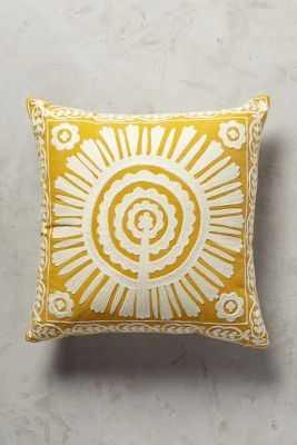 Full Sun Pillow,Dark Yellow - 18''Sq. - With Insert - Anthropologie