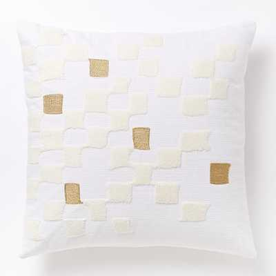Fading Check Pillow Cover, Stone White/Gold - 18x18 - Insert Sold Separately - West Elm