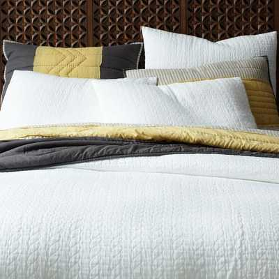 Organic Braided Matelasse Duvet Cover - Full/Queen - Stone White - West Elm