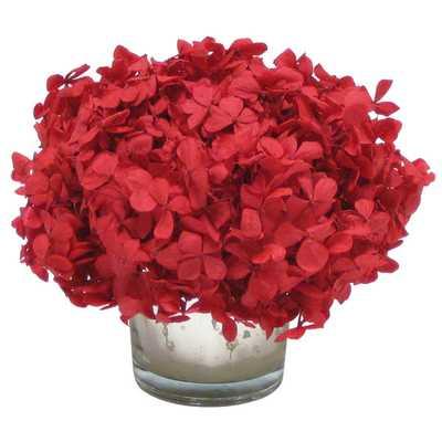 Hydrangea in Mercury Glass Votive - Red - Wayfair