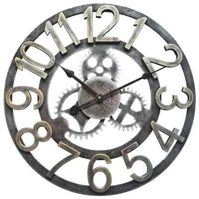 "24"" Raised Number Gear Wall Clock - Wayfair"
