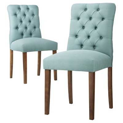 Brookline Tufted Dining Chair (Set of 2) - Aqua Blue - Target
