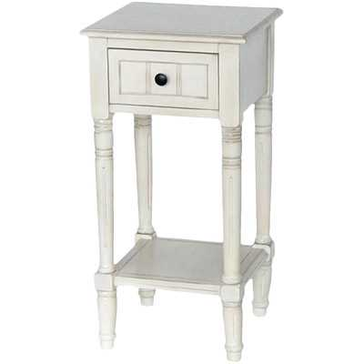 Everly 1 Drawer End Table - Antique White - Wayfair