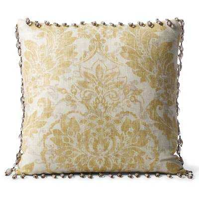 "Capara Beaded Trim Decorative Pillow - 17"" sq. - Down pillow insert - Frontgate"