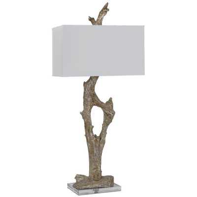Francie Coastal Beach Silver Amber Driftwood Table Lamp - Kathy Kuo Home
