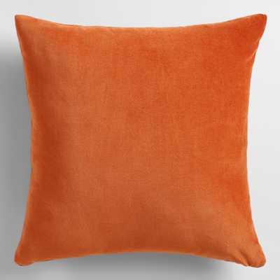 "Spicy Orange Velvet Throw Pillow - 24"" H x 24"" W - Polyester filling - World Market/Cost Plus"