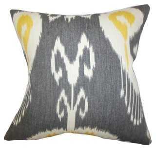 Ikat 18x18 Cotton Pillow, Gray-Feather insert - One Kings Lane