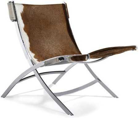Allure Chair Cowhide - White brown cowhide - stores.advancedinteriordesigns.com