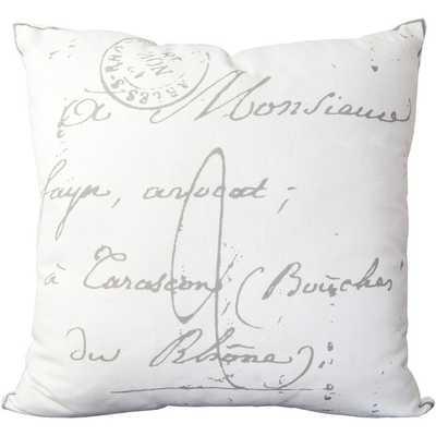 Erskine 18-inch French Script Throw Pillow-Insert-White - Overstock