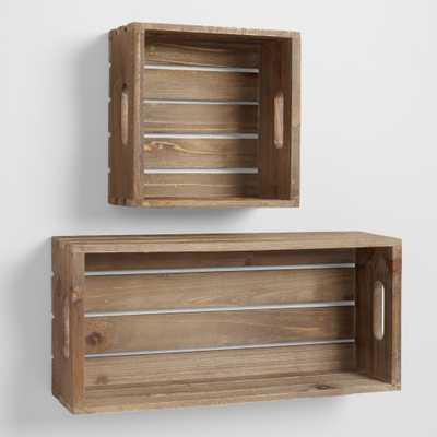 "Wood Crate Wall Storage - 9"" x 20"" - World Market/Cost Plus"