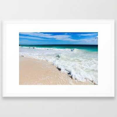 "Tulum Waves- 38"" X 26""- Scoop white frame - Society6"