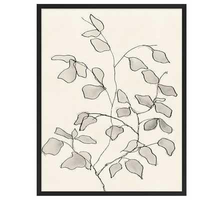 "CHARCOAL LEAVES PRINT - 24.5"" x 31.5"" - Matte Black frame - No mat - Pottery Barn"