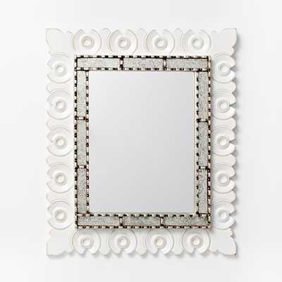 Peruvian Mirror - Medium - Silver + White Rectangle - West Elm