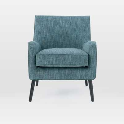 Book Nook Armchair-Heathered Tweed, Marine - West Elm