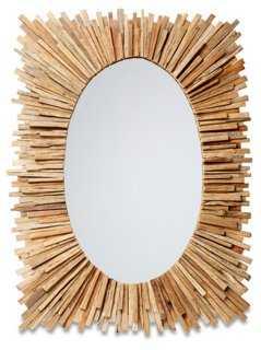 Wood Sunburst Mirror, Natural - One Kings Lane