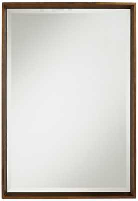 "Arcola Medium Brown 18 3/4"" x 27"" Beveled Wall Mirror - Lamps Plus"