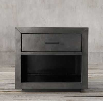 "LA SALLE METAL-WRAPPED 30"" OPEN NIGHTSTAND - RH"
