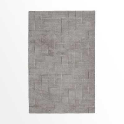 Solid Angled Basketweave Wool Rug - West Elm