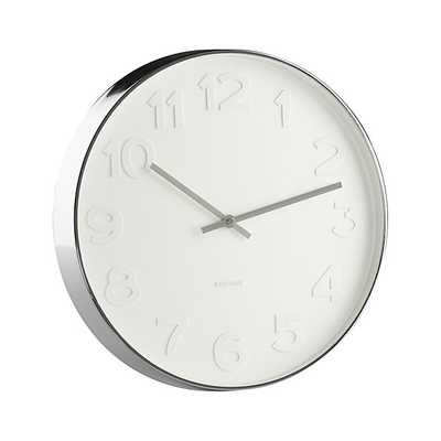 """Embossed Numbers 15"""" Wall Clock - Crate and Barrel"""