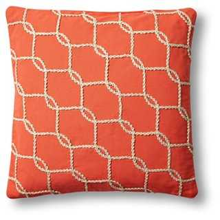 Fishnet 18x18 Cotton Pillowcase, Orange - One Kings Lane