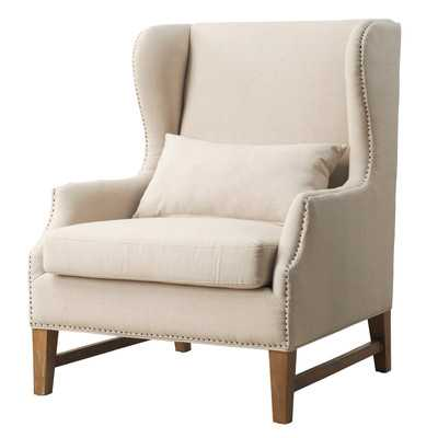 Devon Wing Arm Chair-Beige - Wayfair