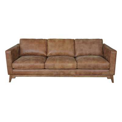 Filmore 89-inch Tan Leather Sofa - Overstock