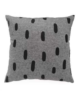 "Black Chambray Brushstroke Pillow-16"" x 16""- Polyfill insert - cottonandflax.com"