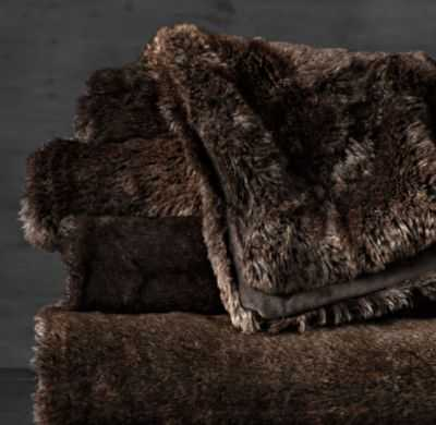 LUXE FAUX FUR OVERSIZED BED THROW - SABLE - RH