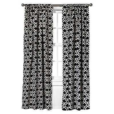 "Thresholdâ""¢ Farrah Fretwork Curtain Panel - 54 x 95 - Black - Target"