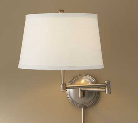 SCONCE BASE WITH SHADE - Set of 2, Brass, White Linen - Pottery Barn