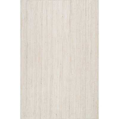 Eco Natural Fiber Braided Reversible Jute White Rug (5' x 8') - Overstock